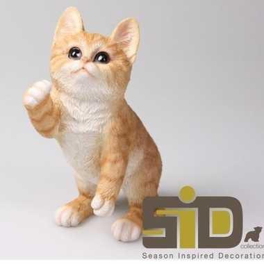 Decoratie beeld rode kat/poes 20 cm