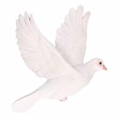 Decoratie beeld witte duif 29 cm