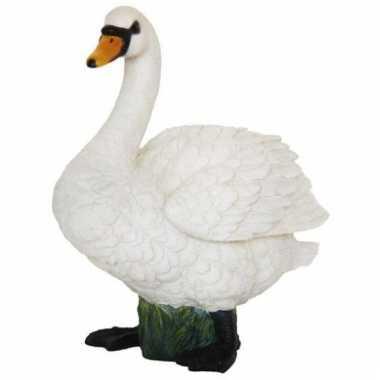 Decoratie beeld witte zwaan 24 cm