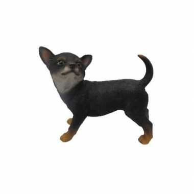 Decoratie beeld zwarte chihuahua 22 cm