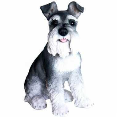 Decoratie beeld zwarte schnauzer hond 33 cm