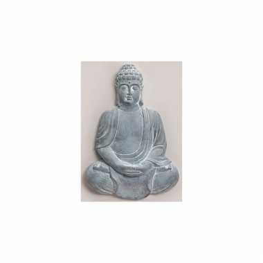 Decoratie boeddha beeld blauw grijs 55 cm