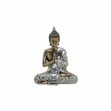 Decoratie boeddha beeld brons zilver 21 cm