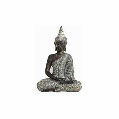 Decoratie boeddha beeld grijs 33 cm