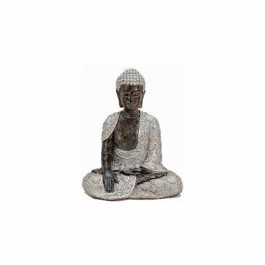 Decoratie boeddha beeld zilver/bruin 29 cm