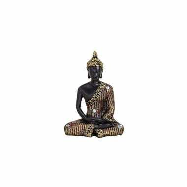 Decoratie boeddha beeld zwart goud 11 cm