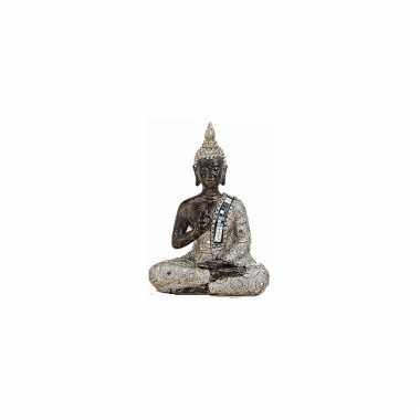 Decoratie boeddha beeldje zilver/bruin 21 cm