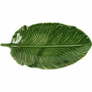 Decoratie bord/schaal groen blad van porselein 20 cm