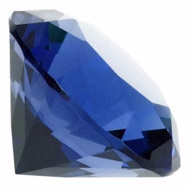 Decoratie diamanten/edelstenen/kristallen blauw 5 cm