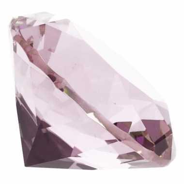 Decoratie diamanten/edelstenen/kristallen lichtroze 4 cm