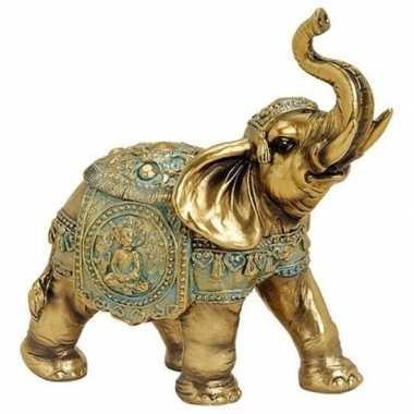 Decoratie dieren beeld olifant goud 16 cm