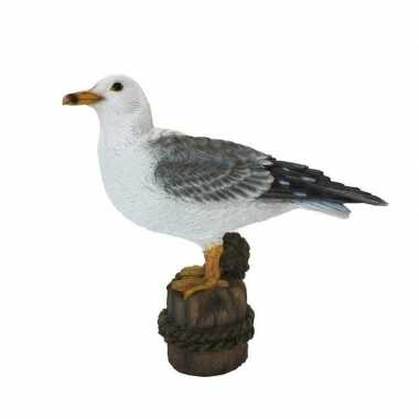 Decoratie dieren vogel beeldjes meeuw 21 cm