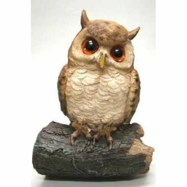 Decoratie dieren vogel beeldjes uil om op te hangen 23 cm