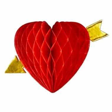 Decoratie hanger rood hart honingraat