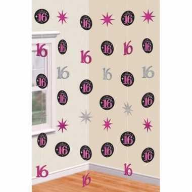 Decoratie hangslingers roze/zwart 16 jaar