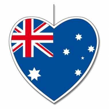 Decoratie hart met australische vlag 30 cm