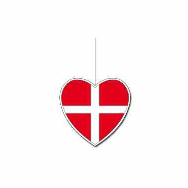 Decoratie hart met deense vlag 14 cm