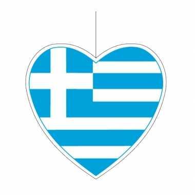 Decoratie hart met griekse vlag 14 cm