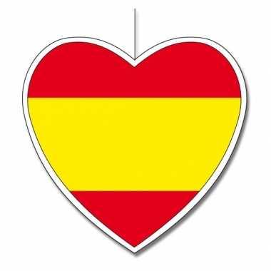 Decoratie hart met spaanse vlag 14 cm
