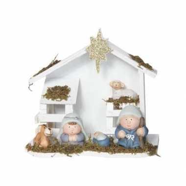 Decoratie kerststal hout 20 cm