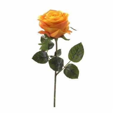Decoratie kunstbloemen gele/oranje roos 45 cm
