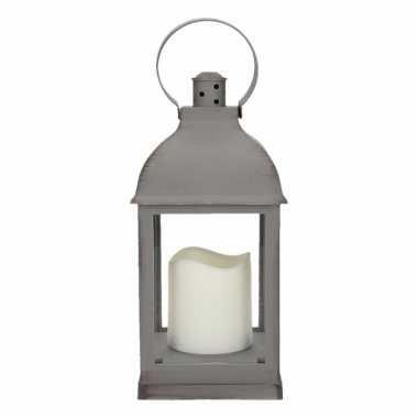 Decoratie lantaarn grijs met led lamp 24 cm type 2