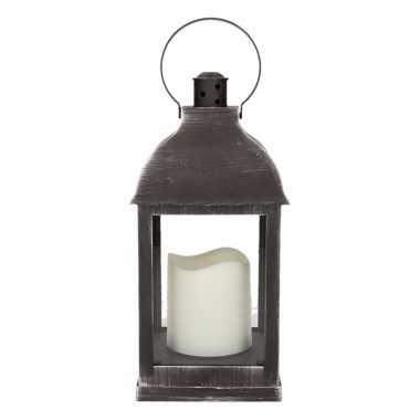 Decoratie lantaarn zwart met led lamp 24 cm type 2