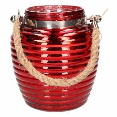 Decoratie lantaarntje rood glitter 16 cm