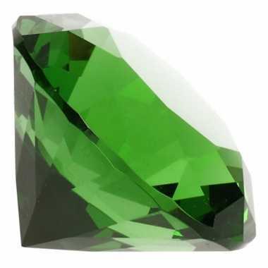 Decoratie namaak diamanten/edelstenen/kristallen groen 4 cm