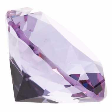 Decoratie namaak diamanten/edelstenen/kristallen lila paars 4 cm