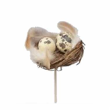Decoratie nestje met kwarteleieren 7 cm 10105531