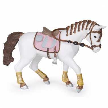 Decoratie paard met gevlochten manen plastic 14.5 cm