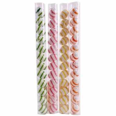 Decoratie paaseieren voor paastak groen/wit gestreept 12 stuks