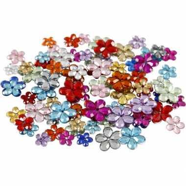 Decoratie plak diamantjes bloemen 504x stuks