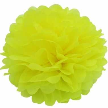 Decoratie pompom geel 25 cm