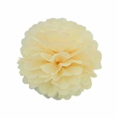 Decoratie pompom ivoorkleurige 35 cm