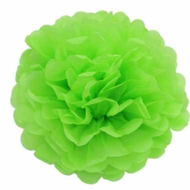 Decoratie pompom lime groen 25 cm