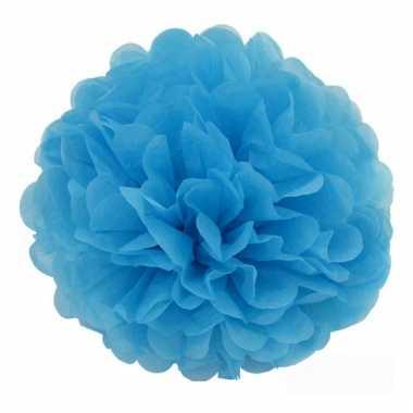 Decoratie pompom turquoise 35 cm