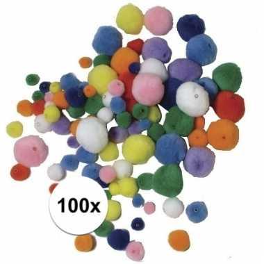 Decoratie pompons om mee te rijgen 100 stuks