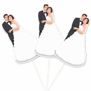 Decoratie prikker bruidspaar 15 cm