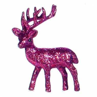 Decoratie rendier roze 10 cm