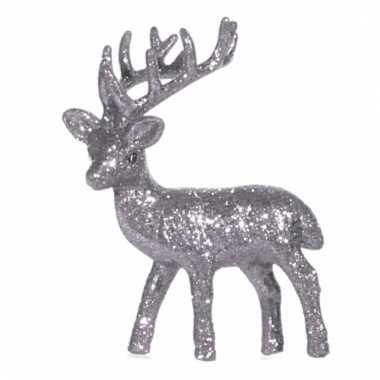 Decoratie rendier zilver 10 cm