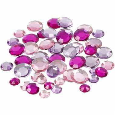 Decoratie ronde plak diamantjes paars mix