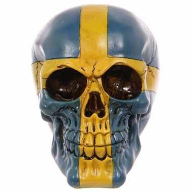 Decoratie schedel blauw/geel