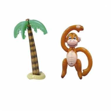 Decoratie set palmboom en aap opblaasbaar