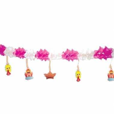 Decoratie slinger roze/wit prinsesjes 300 cm
