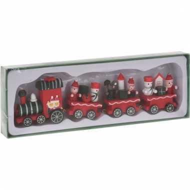 Decoratie trein hout groen/rood 25 cm