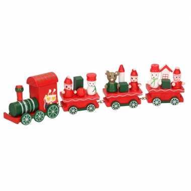 Decoratie trein hout rood/groen 25 cm type ii