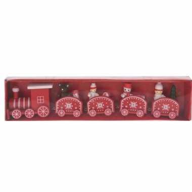 Decoratie trein hout rood/wit 24 cm