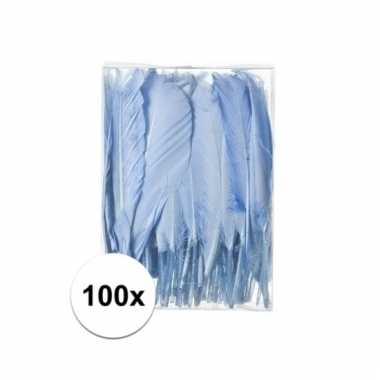 Decoratie veren blauw 100 stuks13 cm